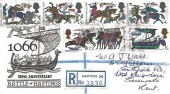 1966 Battle of Hastings, Small Registered Illustrated Rare FDC, Ordinary Set, Hastings Sussex cds.