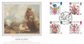 1984 Heraldry Presentation Philatelic Services Sotheby's Silk (PPS) No.1 FDC, The Arthurian Legend Camelot Tintagel Cornwall H/S