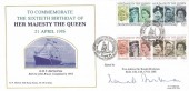 1986 H.M The Queen's 60th Birthday, R N Marriott Ship Stamp Society FDC, Lord High Admiral of the United Kingdom British Forces 2113 Postal Service H/S, signed.