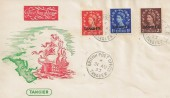 1953 ½d, 1d, 2d Wilding Definitives Tangier Overprints, Illustrated Tangier FDC, British Post Office Tangier cds.