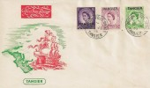 1954 3d, 6d, 7d Wilding Definitives Overprinted Tangier, Illustrated Tangier FDC, British Post Office Tangier cds.