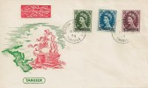 1954 9d, 10d, 11d Wilding Definitives Overprinted Tangier, Illustrated Tangier FDC, British Post Office Tangier cds.