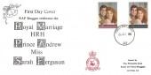 1986 Royal Wedding, RAF Bruggen FDC, Forces Post Office 93 cds.