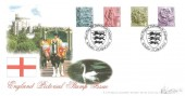2001 2nd, 1st, E, 65p England Pictorial Stamps, Bradbury Windsor Series No.7 FDC. First Pictorial Definitives for England Windsor H/S.