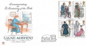 1975 Jane Austen, Stuart FDC, Hook Basingstoke Hants. cds, with Despatched by Mail Coach from Steventon Cachet.