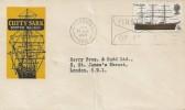 1969 British Ships, Cutty Sark Scotch Whisky FDC, 9d Cutty Sark stamp, First Day of Issue Greenwich Slogan.