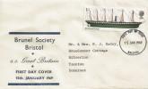 1969 British Ships, Brunel Society Bristol FDC, 1/- SS Great Britain Stamp, Bristol FDI.