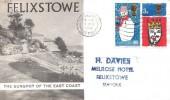 1966 Christmas, Felixstowe, the Sunspot of the East Coast FDC, Felixstowe Suffolk Cancel.