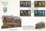 1964 Shakespeare, Official Anne Hathaways Cottage Shottery FDC, Shakespeare 400th Anniversary Stratford-Upon-Avon H/S