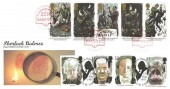 1993 Sherlock Holmes, Royal Mail FDC, doubled with 1997 Tales of Horror, Sherlock Holmes 221B Baker Street London NW1 H/S