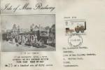 1975 Stockton & Darlington Railway, Isle of Man Railway FDC, Rugby Warwickshire FDI, 7p stamp only