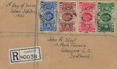 1935 King George V Silver Jubilee, Plain Registered FDC, Registered Glasgow cds.