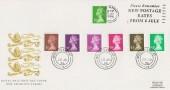 1996 20p, 26p, 31p, 37p, 39p, 43p & 63p, New Definitive Issue, Royal Mail FDC, Please remember new Postage Rates From 8 July Slogan.