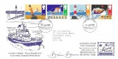 1985, Safety at Sea Humber Lifeboat Special FDC, Grimsby & Cleethorpes South Humberside FDI, Signed Coxain