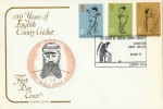 1973 Cricket 100 Years of Cricket Lord's Cotswold FDC, 100 Years of English County Cricket Exhibition Lord's Ground London NW8 H/S