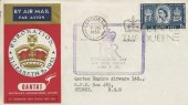1953 Coronation, Qantas FDC, Great Britain Australia Cachet, Long Live the Queen London FS Slogan.