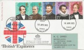 1973 British Explorers, Post Office FDC, Denbigh FDI, with Cachet.
