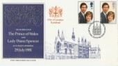1981 Royal Wedding City Guild Hall FDC, First Day of Issue London EC H/S