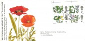 1967 Wild Flowers, block of 4 Phosphor 4d's, British Flora Artist's FDC, Paddington W2 FDI