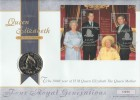 2000 Queen Mother's 100th Year, Royal Mint £5 Coin FDC, Queen Elizabeth Queen Mother London SW1 H/S.