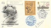 1974 Universal Postal Union, Artcraft FDC, 3½p stamp Only, Philatelic Bureau  H/S, Flown by the Leicester Space Society, Rocket Mail, signed by J Fallow.