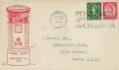 1952 1½d, 2½d Wilding Definitives on Pillar Box Illustrated FDC, Post Early for Christmas Slogan.