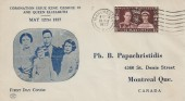 1937 Coronation, Canadian Illustrated FDC, Manchester Cancel.