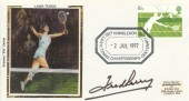 1977 Wimbledon Centenary Year, Colorano Silk Cover, 1877 Lawn Tennis Championships Centenary Year 1977 H/S. Signed by Fred Perry.