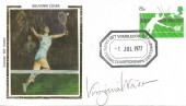 1977 Wimbledon Centenary Year Colorano Silk Cover, 1877 Lawn Tennis Championships Centenary 1977 Wimbledon H/S. Signed by Virginia Wade OBE.
