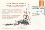 1990 OperationTorch, North African Landings Cover, History of the Royal Navy Series Plymouth H/S, Signed.