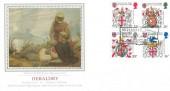 1984 Heraldry, PPS Silk No.1 FDC, Richard III born 1452 Fotheringhay Castle Fotheringhay Peterborough H/S.