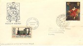 1967 Paintings, Talyllyn Railway FDC, 4d Mater Lambton stamp, Towyn Merioneth cds, with 1/1d Railway Letter Stamp.