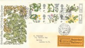 1967 Wild Flowers, Recorded Delivery GPO FDC, East Grinstead Sussex cds, Relevant Postmark.