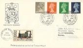 1968, 5d, 7d, 8d, 10d Machin Definitive Issue, Talyllyn Railway FDC, Towyn Merioneth cds, 1/1d Railway Letter Stamp.