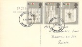 1969 Prince of Wales Investiture, Postcard of Caernarvon Castle, 3x 5d Stamp, Croydon FDI.