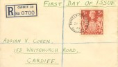 1939 King George VI 5s Red Coat of Arms High Value Definitive, Plain Registered FDC, Romilly Cresent Cardiff cds.