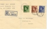 1936 King Edward VIII ½d,1½d, 2½d on Registered Display Cover Queens St. cds