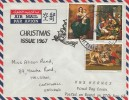 1967, Christmas, Overprinted Air Mail Letter Posted on Board HMS Hermes, London IS Maritime Mail Large cds.