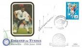 1998 England vs Tunisia World Cup, Benham Cover, Coupe Du Monde De Football France 98 Marseille H/S. Signed by Les Ferdinand.