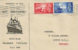 1948 M.V. Britannic Post War Maiden Voyage Cover, Southampton Paquebot Cancel posted at Sea.