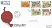 1986 Medieval Life, Registered Royal Mail FDC, Laxton Newark Notts. cds+ Cachet.