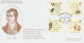 1996 Robert Burns Gem Covers Official FDC, Robert Burns 1759-1796 Alloway H/S