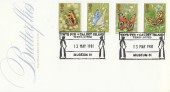 1981 Butterflies, Post Office FDC, Ynys Pyr Caldey Island Museum 81 H/S.