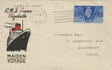 1946 RMS Queen Elizabeth Maiden Voyage Cover, Posted on Board, New York Paquebot Slogan.