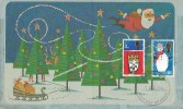 1966 Christmas, Air Letter 1966 Noel Christmas FDC, Eastbourne Sussex FDI.