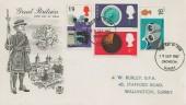 1967 British Discoveries, Stuart Beefeater FDC, Croydon Surrey FDI.