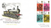 1970 Literary Anniversaries, Charles Dickens Locomotive FDC, 4 x 5d Charles Dickens Stamps,  Portsmouth Hants. FDI
