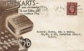 1937 King George VI 1½d Red-Brown, Rekcarts Advertising Envelope FDC, Post Early in the Day London EC Slogan.