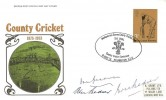 1973 County Cricket Centenary, Post Office FDC, 3p stamp only, Headquarters Surrey County Cricket Club, The Oval Kennington SE11 H/S. Signed by the late Alec & Eric Bedser & Sir Don Bradman.
