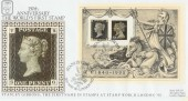 1990 Penny Black Anniversary M/S Benham BLCS53 Official FDC, Stanley Gibbons Stamp World 90 London N22 H/S